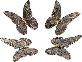 YARNOW 4 Stuks Vlinder Knoppen Vintage Kast Kast Deurknoppen Metalen Decoratieve Dresser Lade Trekt Knoppen Handgrepen Met...