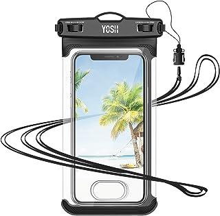 YOSH 強化 防水ケース スマホ用 お風呂用 水中 撮影 サイドボタンが押しやすい IPX8認定 顔認証 指紋認証 スマホ 7.5インチ以下 iphone12mini 12シリーズにも対応 風呂 海 プール 釣り 雨 潜水 水泳 旅行 雪 温...