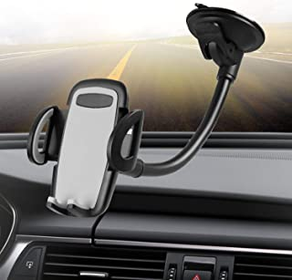 Crazefoto Cell Phone Holder for Car, Windshield Long Arm Car Phone Mount with One Button Design and Anti-Skid Base Car Holder Compatible with iPhone Xs MAX/XS/XR/X/8/7/7P/6s, Galaxy S6/S7/S8,Google