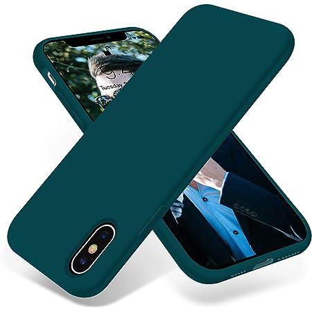 OTOFLY iPhone Xs ケース/iPhone X ケース ソフト タッチ シリコンケース 薄型 超軽量 指紋防止 全面保護 耐衝撃カバー スマホケース iPhoneX ケース/iPhoneXS ケース 対応 (ダークグリーン)