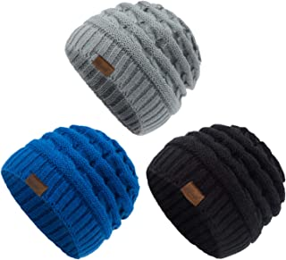 Kids Winter Knit Hat Warm Fleece Lined Hats Children...