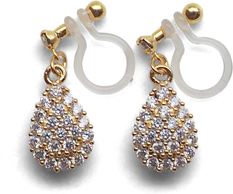 Miyabi Grace Elegant Cubic Zirconia Pave Crystal Invisible Clip On Earrings Dangle Women Wedding Non Pierced Clip On Teardrop CZ BridalEarrings
