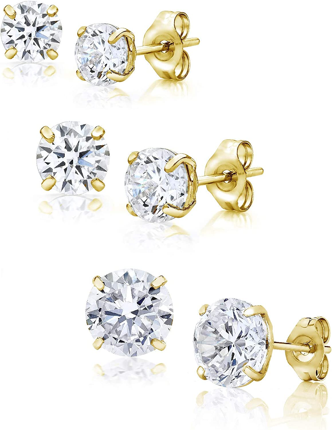 14K Gold 3MM, 4MM, 5MM Round Basket Setting CZ Stud Earrings 3 Pair Pack - Available in White, Yellow, or Rose - Includes Real 14K Gold Backings (Yellow)