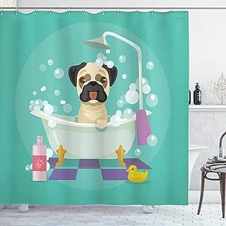 SZZWY Pug Dog in The Bathtub Grooming Dog Puppy Salon Service Shampoo Rubber Duck pet Easy to wash Shower Curtain for Bathroom Hotel Curtain Blue Green