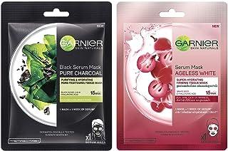 Garnier Skin Naturals, Charcoal, Face Serum Sheet Mask (Black), 28g & Garnier Skin Naturals, Ageless White, Face Serum She...