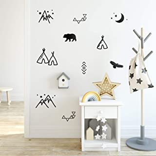 Vinyl Wall Art Decal - Teepee Bear Eagle Moon Mountains Pattern - 31