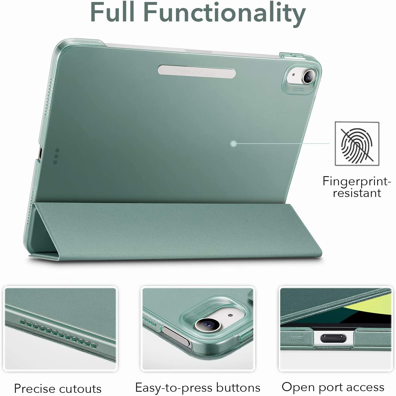 Ascend Series,Green iPad Air 4th Generation Case Stand Case with Clasp ESR Trifold Case for iPad Air 4 Case iPad 10.9 inch 2020 Case Trifold Smart Case