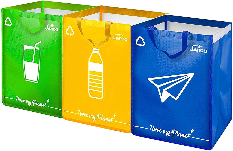 Janaa Cubo de Basura de Reciclaje Selectivo para El Reciclaje de Residuos de Vidrio, Plástico y Metal + Bolsa de Dones (azul amarillo verde)