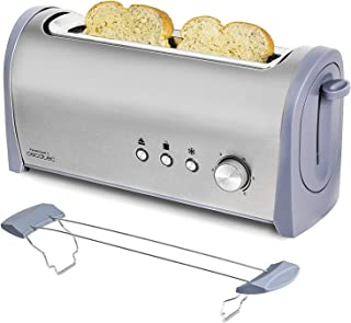 Cecotec Grille-pain en Acier Steel&Toast 1 L. 6 Niveaux de Puissance, Pour 2 Toasts, 3 Fonctions: Faire griller, Réchauffe...