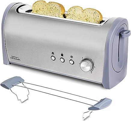 Cecotec Tostadora de Pan Steel&Toast 1L Capacidad para 2, Ranura XL, 1000 W de Potencia, 6 Posiciones de Tostado, Función recalentar y descongelar, Bandeja de recogemigas Amplia