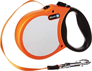 alcott Visibility Retractable Reflective Belt Leash, 16' Long, Large for Dogs Up to 110 lbs, Neon Orange with Reflective A...