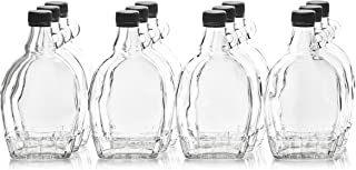 North Mountain Supply 12 Ounce Glass Maple Syrup Bottles with Loop Handle & Black Plastic Tamper Evident Lids - Case of 12