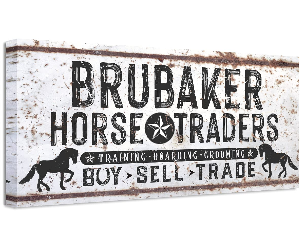 Personalized - Family Name Horse Art Market Cheap super special price Canvas Max 47% OFF Large Wall