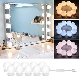 comprar comparacion Timker Luces LED Kit de Espejo con 10 Bombillas regulables 3 Modos Ajustable de Color de Luz USB Luz Espejo Maquillaje,Toc...