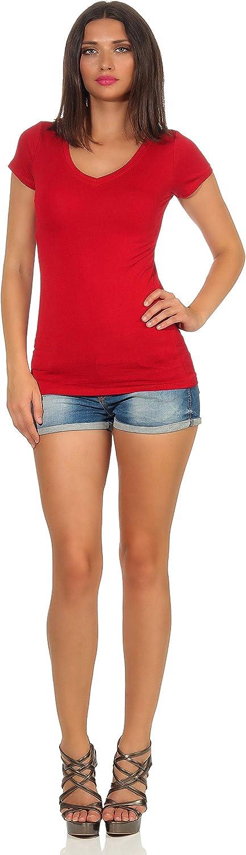 StyleLightOne T-shirt basique /à manches courtes et col en V pour femme Coupe ajust/ée 36-42