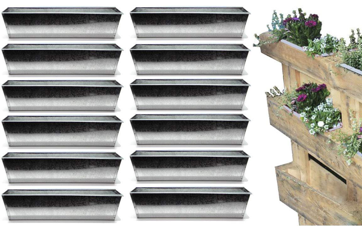 Bada Bing - Maceta para palé de Metal galvanizado para macetas de decoración de jardín Trend 47, 12 Set Pflanzschale verzinkt: Amazon.es: Jardín