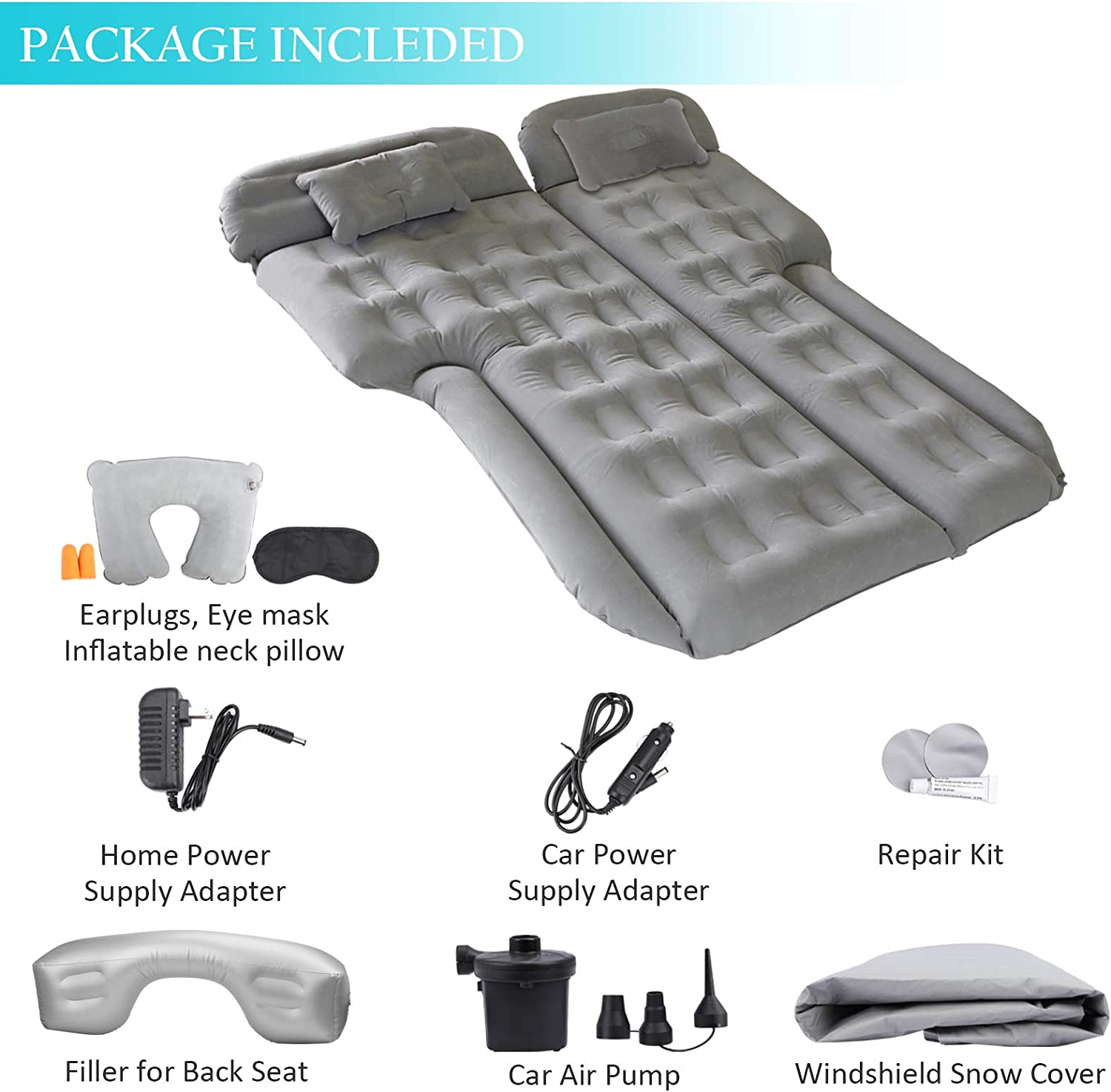 Upgraded Version Fits SUV Qukpa Air Mattress Inflatable Car Back Seat Travel Camping Bed Portable Flocking Tent Cushion with Electric Air Pump Truck etc General Car Model RV
