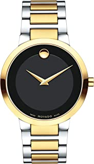 Men's Modern Classic Two-Tone Watch with a Concave Dot Museum Dial, Black/Gold (Model 607120)