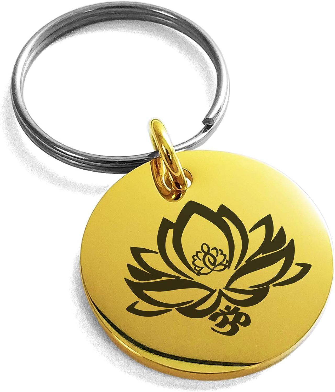 Tioneer Stainless Steel Healing Lotus Om Symbol Small Medallion Circle Charm Keychain Keyring