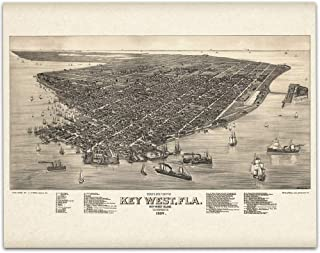 Key West Florida Map – 11×14 Unframed Art Print – Great Vintage Gift and..