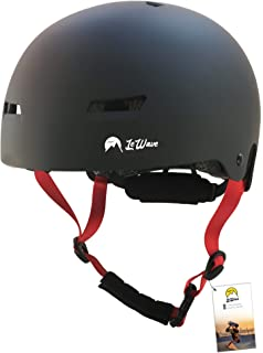 Helmet Skate Skateboard – Impact Absorption Protection – Size Adjuster and Goggle clip – Safety & Lightweight – Peak Performance Skateboarding, Skating, BMX, Bike, Cycling, Rollerblading, Adult by LeWave Sports