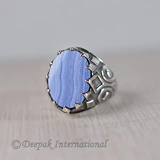 Blue Lace Agate Ring, Designer Man's Ring, Prong Ring, Man's Heavy Ring, Solid 925 Sterling Silver Jewelry, Natural Gemstone Ring, Oxidized Arabic, Statement Ring, Handmade Ring, Engagement Jewelry