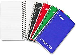"""Mead Small Spiral Notebook, Spiral Memo Pad, College Ruled Paper, 60 Sheets, 5"""" x 3"""", Assorted Colors, 8 Pack (73605)"""