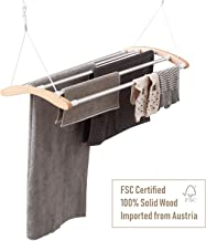 INNOKA Extendable Ceiling Mounted Drying Rack, Luxury Birch Wood with 5 Strong Aluminum Bars [Space Saving] Clothes Laundry Dryer Hanger with Smart Pulley System, Extended up to 55