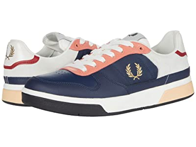 Fred Perry B300 Leather/Suede/Poly (Inky Blue/Metallic Gold) Men