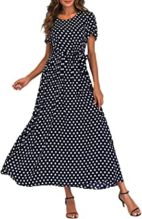 Women's Vintage Crew Neck Polka Dot Bandage Maxi Dresses