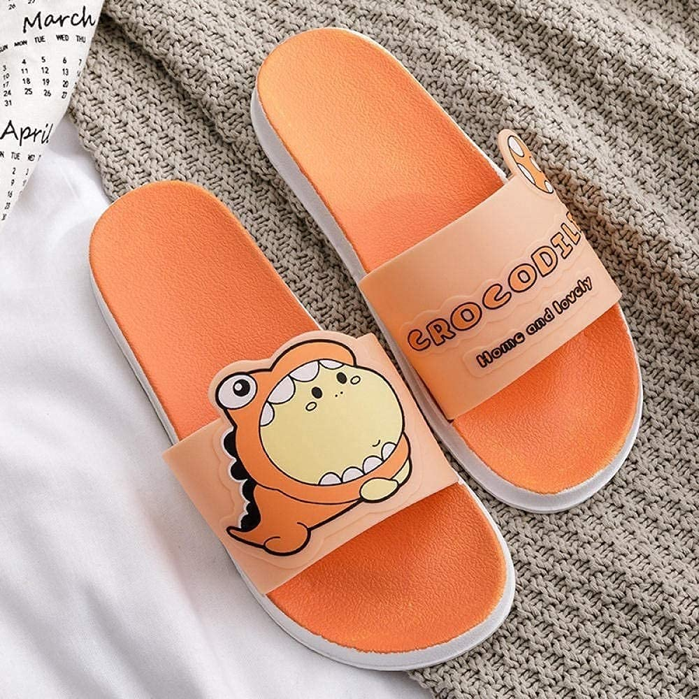 ZHJ Ladies Slippers Sandals,Summer Slides Cartoon Beach Casual, Non-Slip Bathroom Sandals Girls Shoes Slippers (Color : Orange, Size : CN37-38)