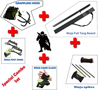 NINJA Combo Grappling Hook,Hand claws,Foot Spike, Kunai Spikes, Ninja Sword