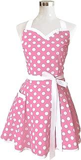 Hyzrz Lovely Sweetheart Pink Retro Kitchen Aprons Woman Girl Cotton Polka Dot Cooking Salon Pinafore Vintage Apron Dress Christmas