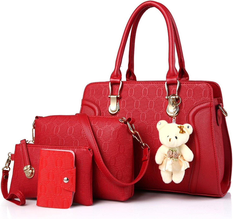 ALLHM Mode Frauen pu-Leder Handtasche umhängetasche umhängetasche bär schlüsselanhänger Karte Paket (4er Set) Kapazität für mehrere Taschen (Farbe   rot, größe   OneGröße) B07MQT75TD  Vollständige Spezifikatio