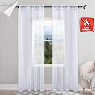 KEQIAOSUOCAI Flame Retardant Sheer Curtains Rod Pocket Sheer Windows Panels for Hospital Office School Nursery 2 Pcs White 52W x 63L