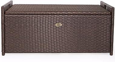 Barton Outdoor Storage Bench Rattan Style Deck Box Wicker Patio Furniture Water Resistance w/Seat Cushion, 60-Gallon, Brown