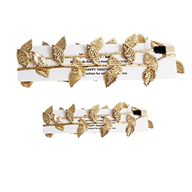 Merroyal 2pc Hot Baby Newborn Mom Gold Leaves Headband Hairband Photo Studio Prop Costume (Mom Baby Gold)