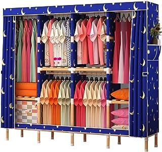 Garde-robe Tissu Armoire for Chambre, Placard Portable en Bois Massif étagère de Rangement Organisateur Armoire Penderie r...