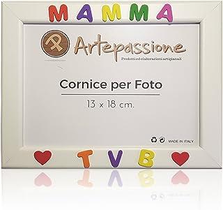 Cornici per foto in legno con la scritta Mamma TVB e decorata con cuoricini, da appoggiare o appendere, misura 13x18 cm Bi...