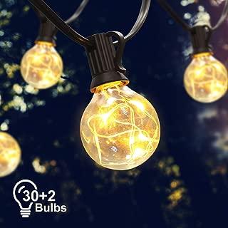 38FT LED String Lights, Kakanuo G40 Globe Vintage Indoor/Outdoor String Lights 30 Bulbs (and 2 Spare Bulb), Decorative Hanging LED Light for Backyard Bistro Porch Garden Cafe Party - UL Standard