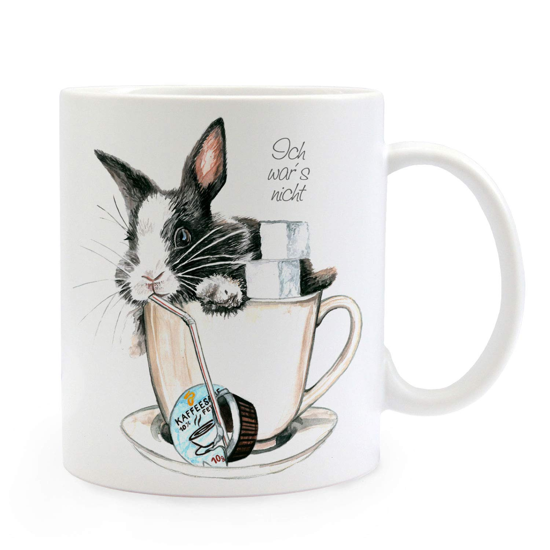 2 vaso café taza de café taza de cerámica-nuevo conejos conejo blanco liebres