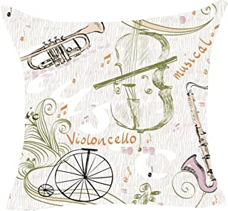 FDROL Hand Painted Music Instrument Note Violin Saxophone Bicycle Cotton Linen Pillowcase Cushion Cover Case For Sofa Living Room Office Decorative Throw Pillow Case Cover Square 18X18 inch
