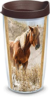 Tervis 1331421 Coastal Wild Horses Insulated Tumbler with Wrap and Brown Lid, 16oz, Clear