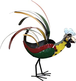 Upcycled Emporium Charming Retro Rooster Statue for Home, Outdoor Patio, and Garden Décor, Handcrafted from Recycled Scrap Metals and Colorfully Painted