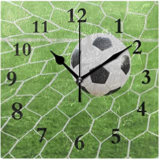 FunnyCustom Soccer Ball Goat Square Wall Clock 7.8 Inch Hanging Clock for Living Room/Kitchen/Bedroom