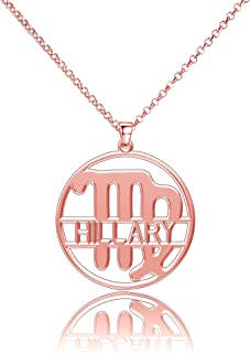 LoEnMe Jewelry Silver Plated Virgo Sterling Silver Nameplate Women Personalized Necklace Essential Custom