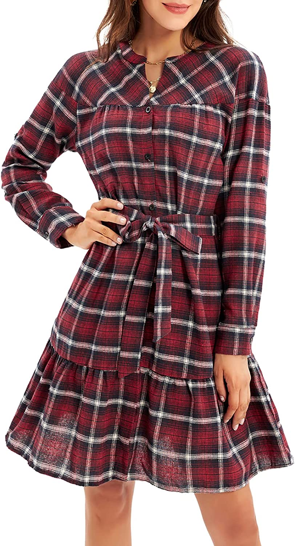 GRACE KARIN Women's Roll Up Sleeve Button Down Plaid Shirt Dress with Belt