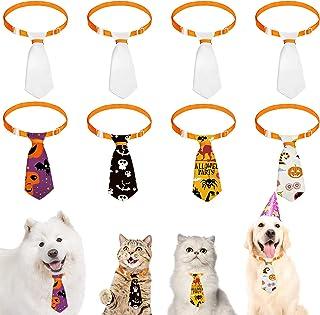 Frienda 8 Pieces Sublimation Pet Ties Adjustable Cat Dog Neckties Solid White Puppy Dog Ties for Pet Dog Kitten Wedding Ho...
