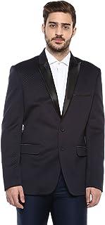 LUXURAZI Blue Macro Dotted Self Textured Partywear Tuxedo Blazer