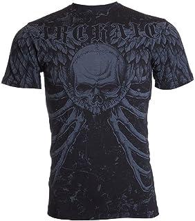 Archaic AFFLICTION Mens T-Shirt COLLISION Skull Vertebrae Biker UFC